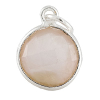 Faceted Rose Quartz Charm 11mm Sterling Silver (1-Pc)