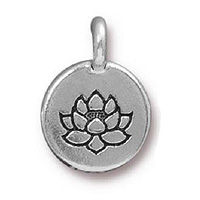 TierraCast Lotus Charm 12x17mm Pewter Antique Silver Plated (1-Pc)