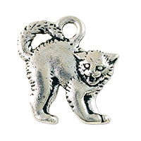 TierraCast Scary Cat Charm 16x18mm Pewter Antique Silver Plated (1-Pc)