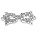 Fleur de Lis Fold Over Clasp with Pavé Set Cubic Zirconia 14x32mm Sterling Silver Rhodium Plated (1-Pc)