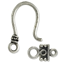 Hook & Eye Clasp 25x11mm Base Metal Antique Silver Plated (1-Pc)
