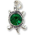 Turtle Charm with Green Cubic Zirconia 24x12mm Sterling Silver (1-Pc)