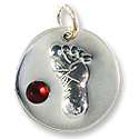 January Footprint Charm with Garnet Rhinestone 14mm Sterling Silver (1-Pc)