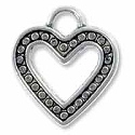 Open Heart Charm 14x13mm Pewter Antique Silver Plated (1-Pc)