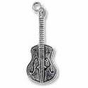 Guitar Charm 27x10mm Pewter Antique Silver Plated (1-Pc)