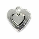 Embossed Heart Charm 10mm Pewter Antique Silver Plated (1-Pc)