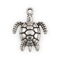Sea Turtle Charm 19x17mm Pewter Antique Silver Plated (1-Pc)