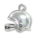 Football Helmet Charm 16mm Pewter Antique Silver Plated (1-Pc)