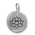 TierraCast Lotus Charm with Loop 11.6m Antique Silver Plated (1-Pc)