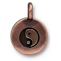 TierraCast Yin Yang Charm with Loop 11.6m Antique Copper Plated (1-Pc)