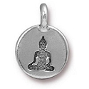 TierraCast Buddha Charm with Loop 11.6m Antique Silver Plated (1-Pc)