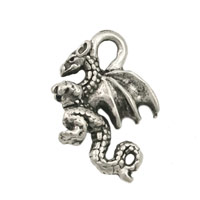 Dragon Charm 21x14mm Antique Silver Plated (1-Pc)