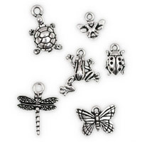TierraCast Antique Silver Plated Pewter Critter Charms (Set of 6)