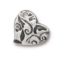 TierraCast Amor Heart Charm 14mm Pewter Antique (1-Pc)