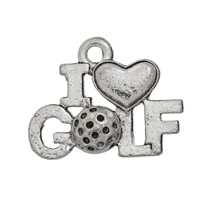 I Love Golf Charm 11x17mm Pewter Antique Silver Plated (1-Pc)