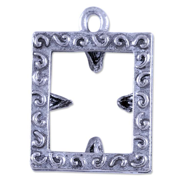 Antique Silver Picture Frame Pewter Charm 18x15mm | stamped jewelry ...