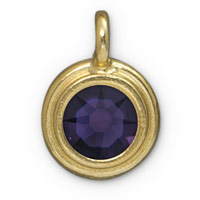 TierraCast 11mm Purple Velvet Gold Plated Pewter Bezel Drop (1-Pc)