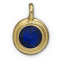 TierraCast 11mm Cobalt Blue Gold Plated Pewter Bezel Drop (1-Pc)