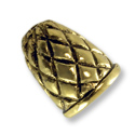Antique Gold Plated Quilted Bead Cone End Cap 14x12mm  (1-Pc)
