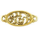 Oval Filigree Connector 21mm Pewter Antique Gold Plated (1-Pc)
