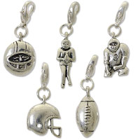 Football Charm Set (5-Pcs) with Clasp Silver Plated