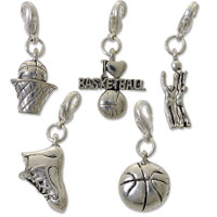 Basketball Charm Set (5-Pcs) with Clasp Silver Plated
