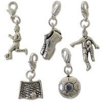 Soccer Charm Set (5-Pcs) with Clasp Silver Plated