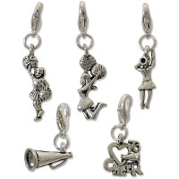 Cheerleader Charm Set (5-Pcs) with Clasp Silver Plated