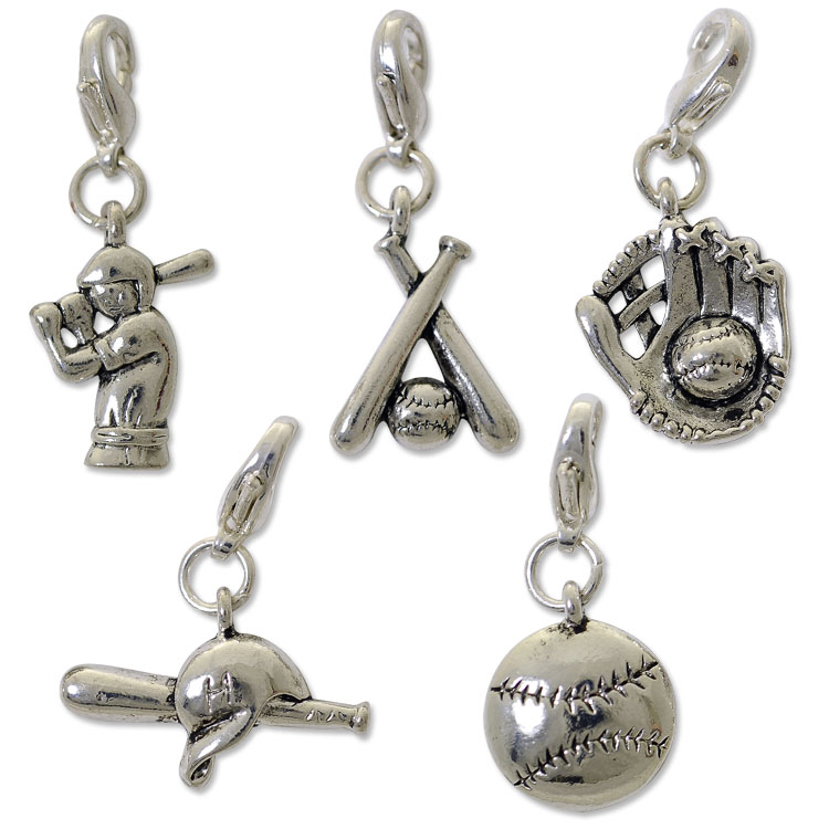 Baseball Charm Set with Clasp Silver Plated | wholesale charms for jewelry making | We got that!