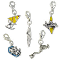 Boating Charm Set  (5-Pcs) with Clasp Silver Plated