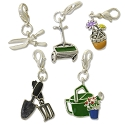 Garden Charm Set (5-Pcs) with Clasp Silver Plated