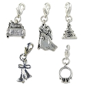 Marriage Charm Set with Lobster Claw Clasp Silver Plated (5-Pcs)