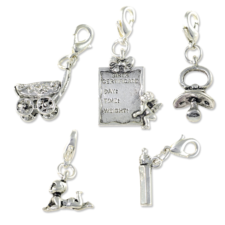 Baby charms set with clasp silver plated charm bracelet beads baby charms set 5 pcs with clasp silver plated mozeypictures Gallery