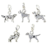 Silver Plated Dog Charms with Lobster Clasp (5-Pcs)
