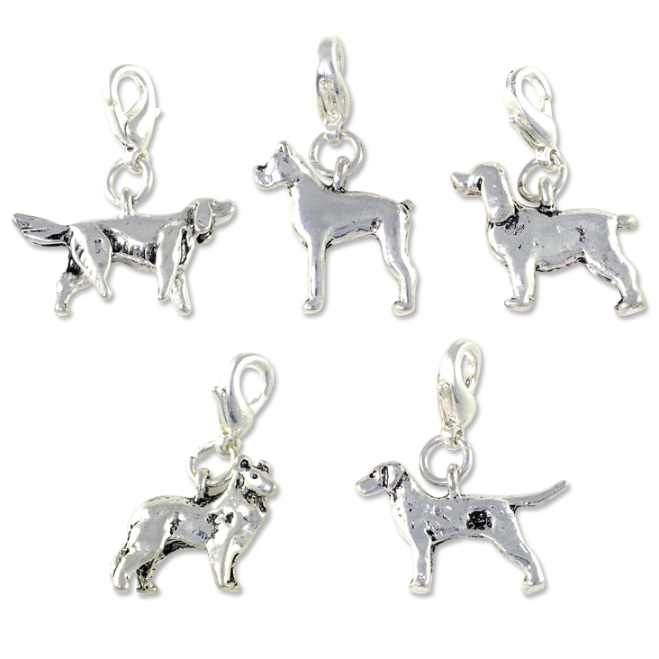 Dog Charms Set With Clasp Silver Plated Wholesale Charms