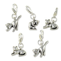 Silver Plated Cat Charms with Lobster Clasp (5-Pcs)