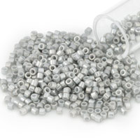 Miyuki Delica Seed Bead 11/0 White Gold Luster Light Grey Opaque (3 Gram Tube)