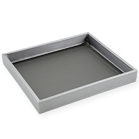 1 Inch Tall Half-Size Steel Grey Leatherette Jewelry Tray