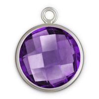 Bezel Drop Amethyst Glass and Sterling Silver 8mm (1-Pc)