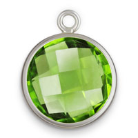 8mm Peridot Faceted Glass Sterling Silver Bezel Drop (1-Pc)