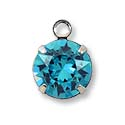 Swarovski Round Drop 8mm Light Turquoise Rhodium Plated (1-Pc)