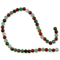 Dyed Agate Mix Round Faceted Beads 4mm Green and Red (16