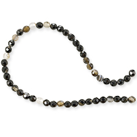 Dyed Agate Mix Round Faceted Beads 4mm Black and White (16