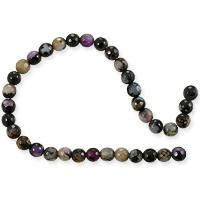 Dyed Agate Mix Round Faceted Beads 6mm Black/Pink/Grey (16