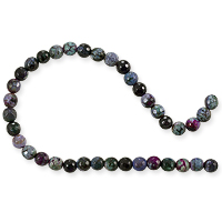 Dyed Agate Mix Round Faceted Beads 6mm Burgundy/Lavender/Green (16