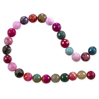 10 Strands of Dyed Agate Mix Round Faceted Beads 8mm Pink/Green/Red (16