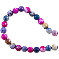 10 Strands of Dyed Agate Mix Round Faceted Beads 8mm Pink/Tan/Blue (16