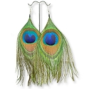 Peacock Feather Earrings (Pair)