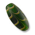 Feather Glass Bead 25x12mm Green (1-Pc)