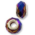 Faceted Large Hole Glass Bead with Grommet 14x8mm Cobalt Purple AB (1-Pc)